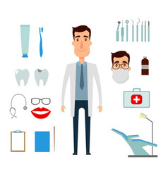 dentist character creation set icons with vector image