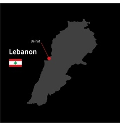 detailed map lebanon and capital city beirut vector image