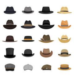 Different male hats vector