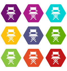 director chair icons set 9 vector image