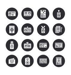 Documents identity flat glyph icons id vector