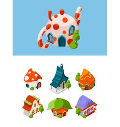 fantasy isometric buildings fairytale vector image