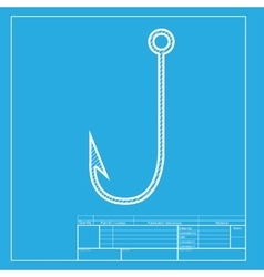 Fishing Hook sign White section of vector image