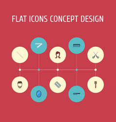 Flat icons female razor bristle and other vector