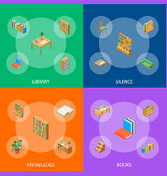 furniture for library 3d banner set isometric view vector image