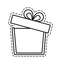 Gift box ribbon anniversary party open cut line vector