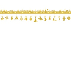 Golden snowflake border with hanging vector