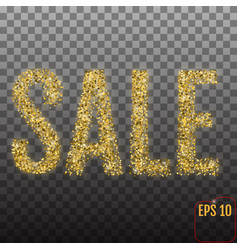 golden word sale on transparent background yellow vector image