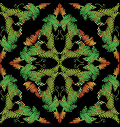 green embroidery baroque seamless pattern vector image