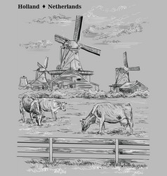 Grey hand drawing holland 8 vector