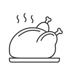 Grilled whole chicken linear icon vector
