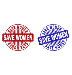 grunge save women textured round stamps vector image