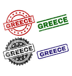 Grunge textured greece seal stamps vector