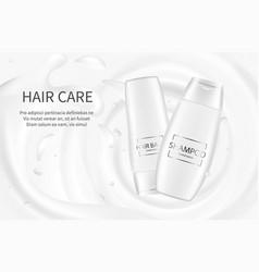 hair cosmetics banner shampoo advertising poster vector image