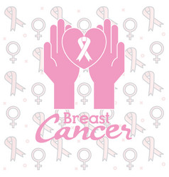 Hands with ribbon breast cancer vector