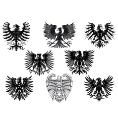 Heraldic royal medieval eagles vector image