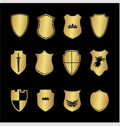 heraldry medieval shield shapes set vector image