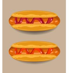 Hotdogs chili sauce and tomato sauce vector image