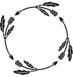 hunting arrows with feathers round or circle vector image