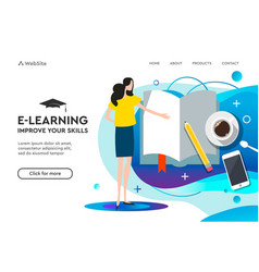 landing page template for online education and vector image