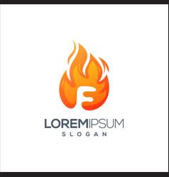 letter f fire logo design vector image