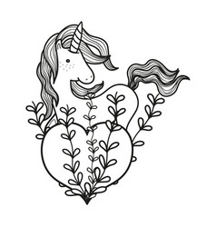 Line unicorn hairstyle with heart and branches vector