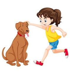 Little girl playing with dog pet vector