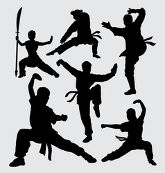 Martial art and kungfu male and female silhouette vector