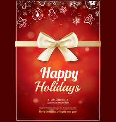 merry christmas party and gold ribbon for flyer vector image