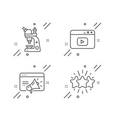 Microscope seo marketing and video content icons vector