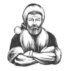 Modern santa claus macho man christmas symbol vector