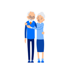 old couple hugging elderly people stand close by vector image
