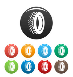 One tyre icons set color vector