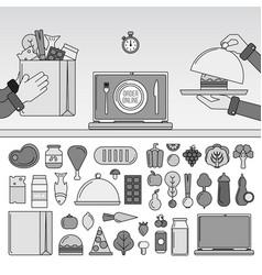 order food online line monochrome vector image