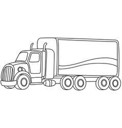 outlined cartoon truck vector image