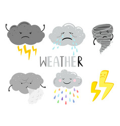Overcast weather cartoon character clouds vector