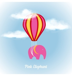 Pink elephant on air vector image