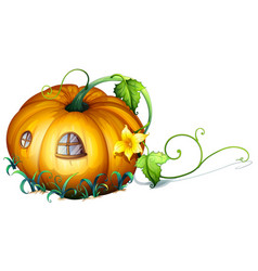 Pumpkin house with windows vector
