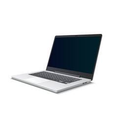 realistic silver laptop 3d icon isolated vector image
