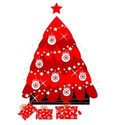 retro christmas tree vector image