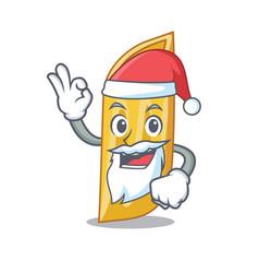Santa penne pasta character cartoon vector