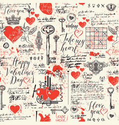 seamless pattern on the theme of valentines day vector image