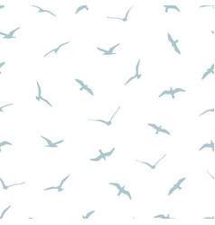 Seamless pattern with gulls on white background vector