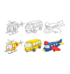 set of cartoon transport coloring book vector image
