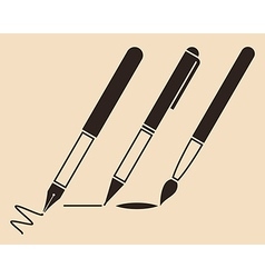 Set of pens and brush vector