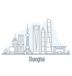 shanghai city skyline - cityscape with landmarks vector image