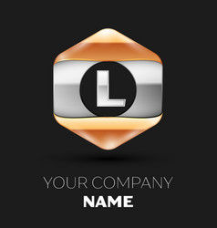 Silver letter l logo in silver-golden hexagonal vector