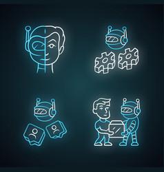 Software bot neon light icons set socialbot vector