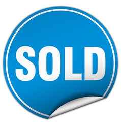 Sold round blue sticker isolated on white vector