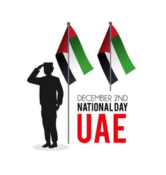 Soldier with uae flag to partiotic celebration vector